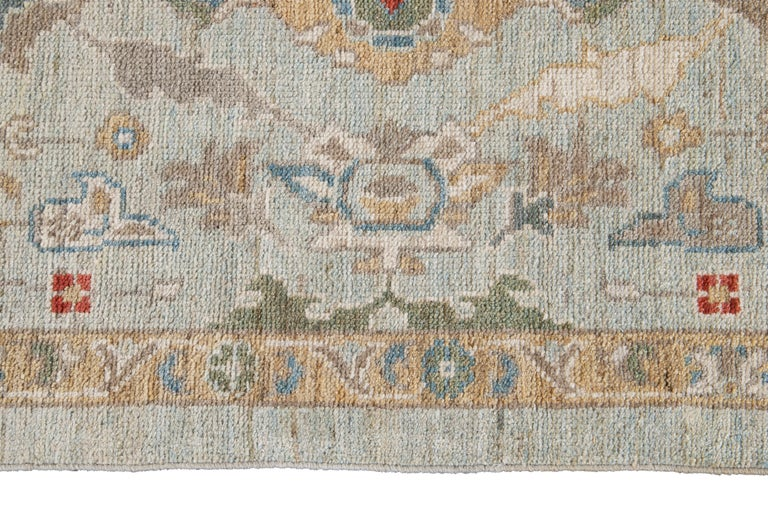 Blue Long Modern Sultanabad Wool Runner For Sale 2