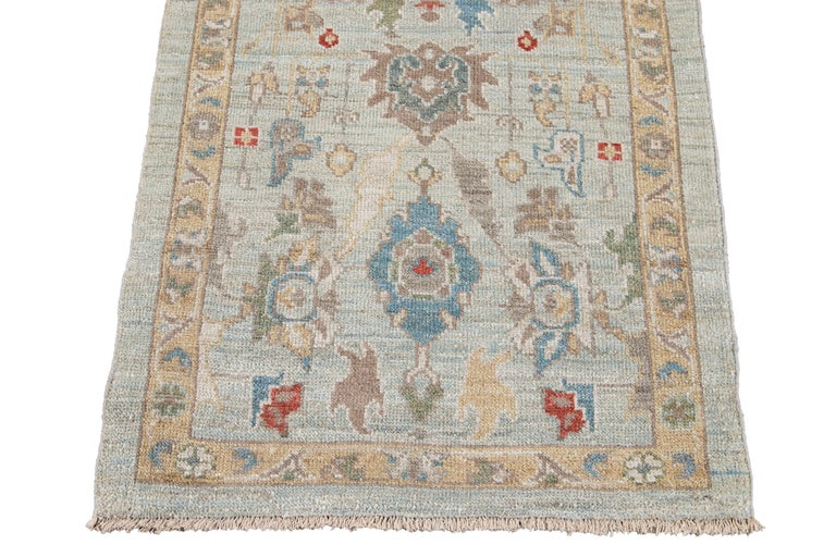 Blue Long Modern Sultanabad Wool Runner For Sale 3