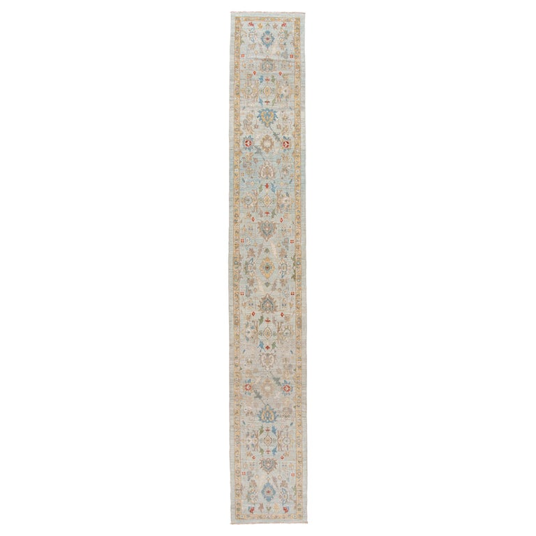 Blue Long Modern Sultanabad Wool Runner For Sale