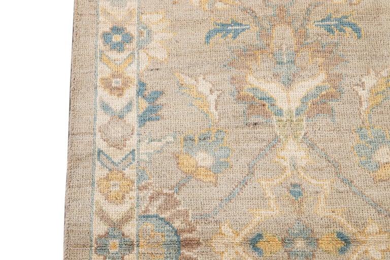 21st Century Modern Sultanabad Wool Runner Rug For Sale 8