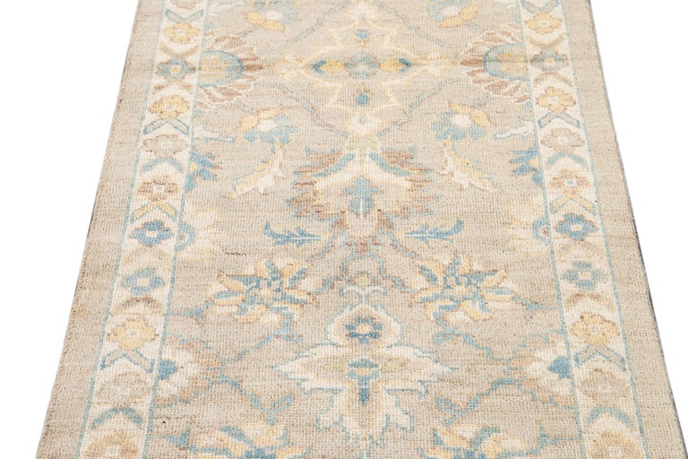 Persian 21st Century Modern Sultanabad Wool Runner Rug For Sale