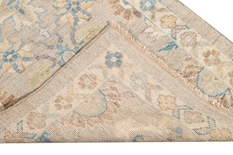 Contemporary 21st Century Modern Sultanabad Wool Runner Rug For Sale
