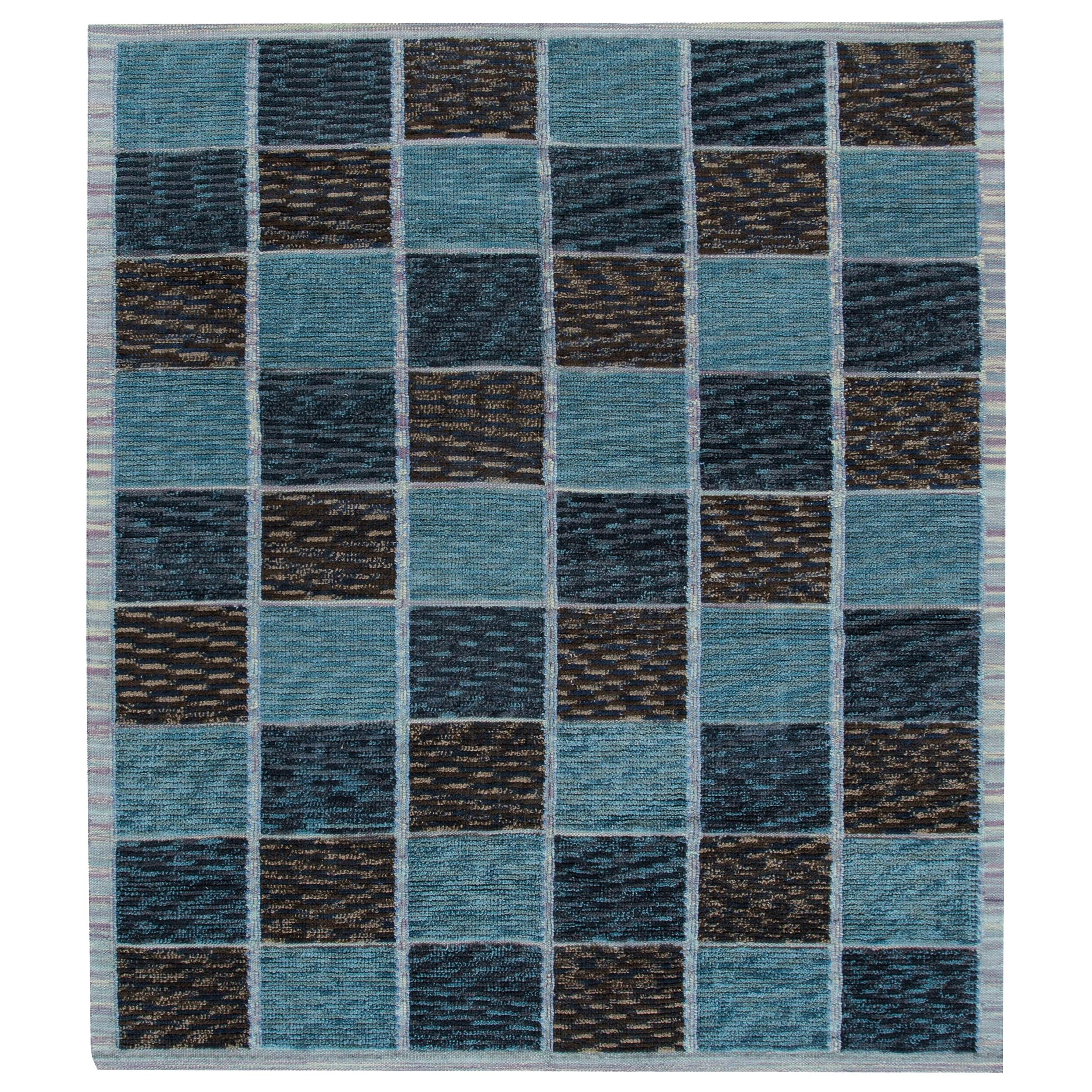 21st Century Modern Swedish Style Blue Wool Rug