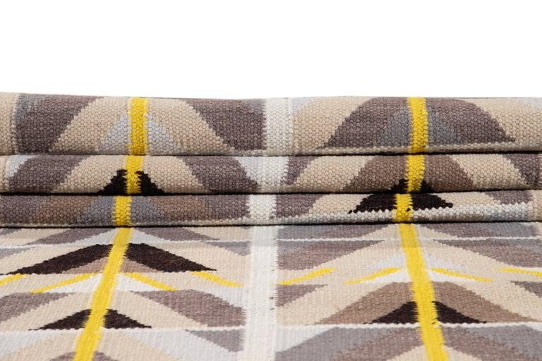 21st Century Modern Swedish Style Long Wool Runner Rug For Sale 4