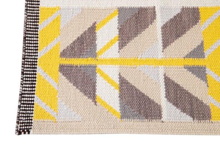 Indian 21st Century Modern Swedish Style Long Wool Runner Rug For Sale