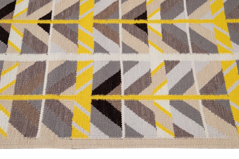 Hand-Knotted 21st Century Modern Swedish Style Long Wool Runner Rug For Sale