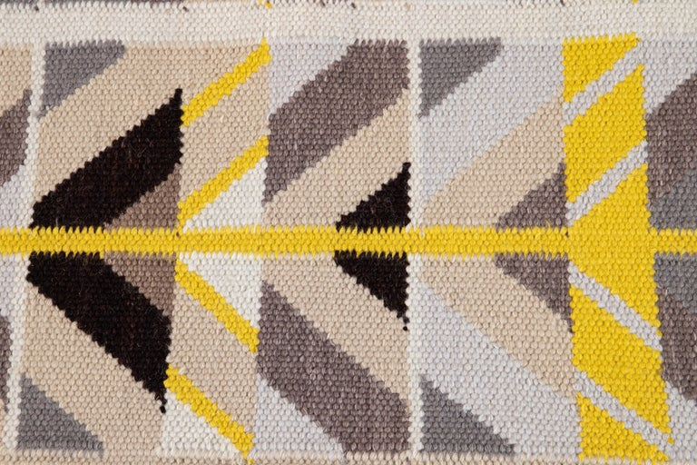 21st Century Modern Swedish Style Long Wool Runner Rug In New Condition For Sale In Norwalk, CT