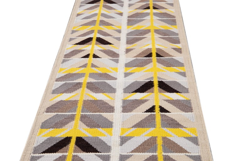 Contemporary 21st Century Modern Swedish Style Long Wool Runner Rug For Sale