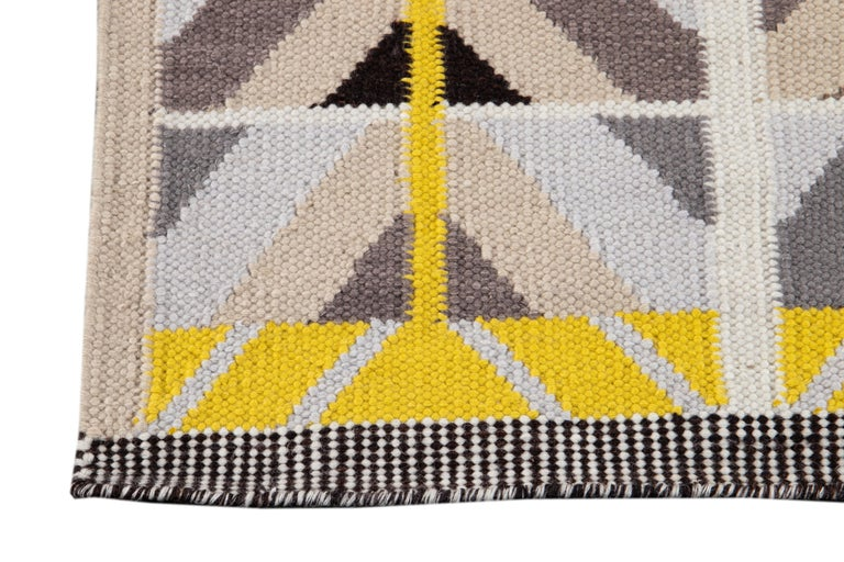 21st Century Modern Swedish Style Long Wool Runner Rug For Sale 1