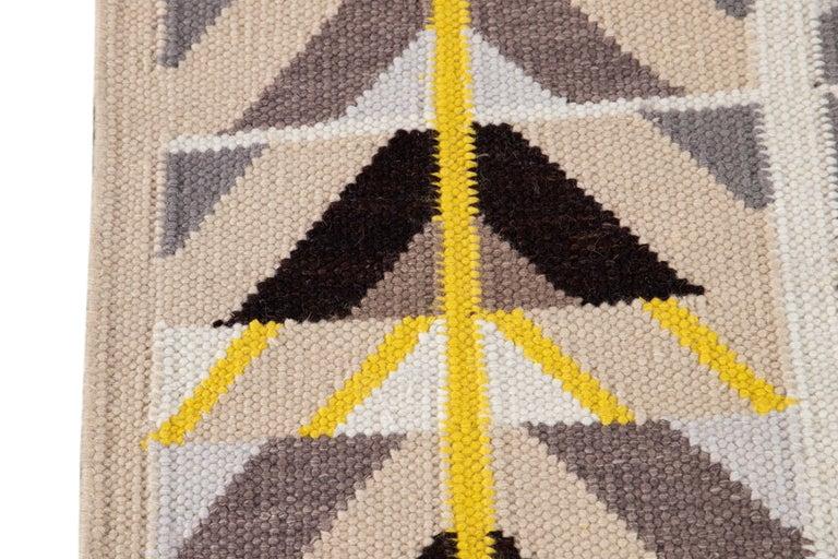 21st Century Modern Swedish Style Long Wool Runner Rug For Sale 2