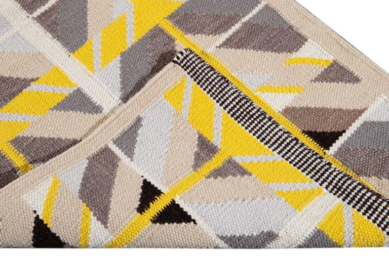 21st Century Modern Swedish Style Long Wool Runner Rug For Sale 3