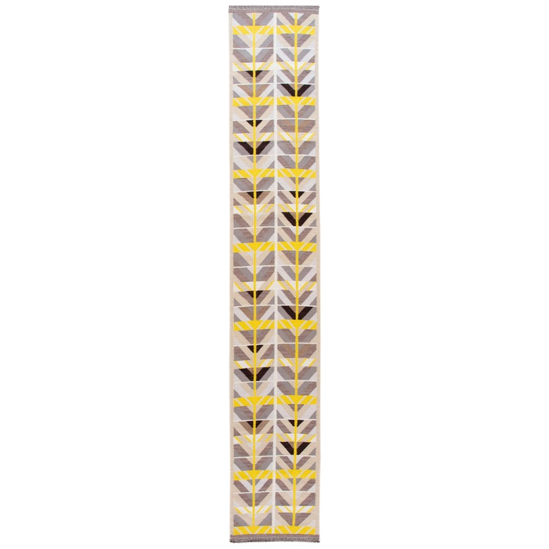 21st Century Modern Swedish Style Long Wool Runner Rug For Sale