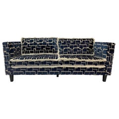 21st Century Modern Track Arm Sofa with Navy and White Computer Circuit Fabric