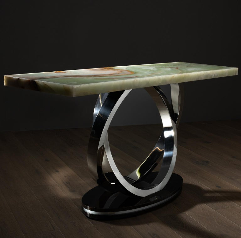 21st century contemporary modern Turim console handcrafted in Portugal by Greenapple   Turim Console Materials  Top in polished green Onyx backlit with LED light. Round floor base in Beech veneer, dark brown stained with satin finish. Inlaid