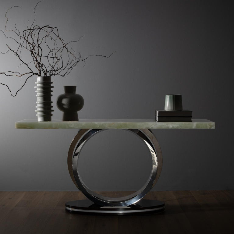 Stainless Steel 21st Century Modern Turim Console Handcrafted in Portugal by Greenapple For Sale