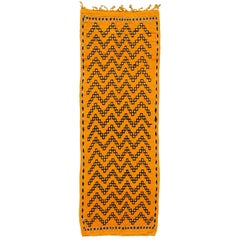 21st Century Modern Yellow Moroccan Tribal Runner