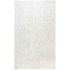 21st Century Modernist Jean Cocteau Style Black and White Wool Rug