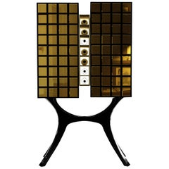21st Century Mondo Cabinet Golden Mirror Tiles Lacquered Wood