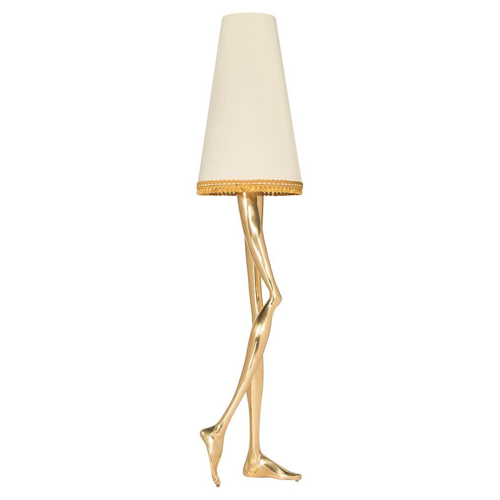 21st Century Monroe Floor Lamp Polished Brass, Off White Lampshade, Art Lighting