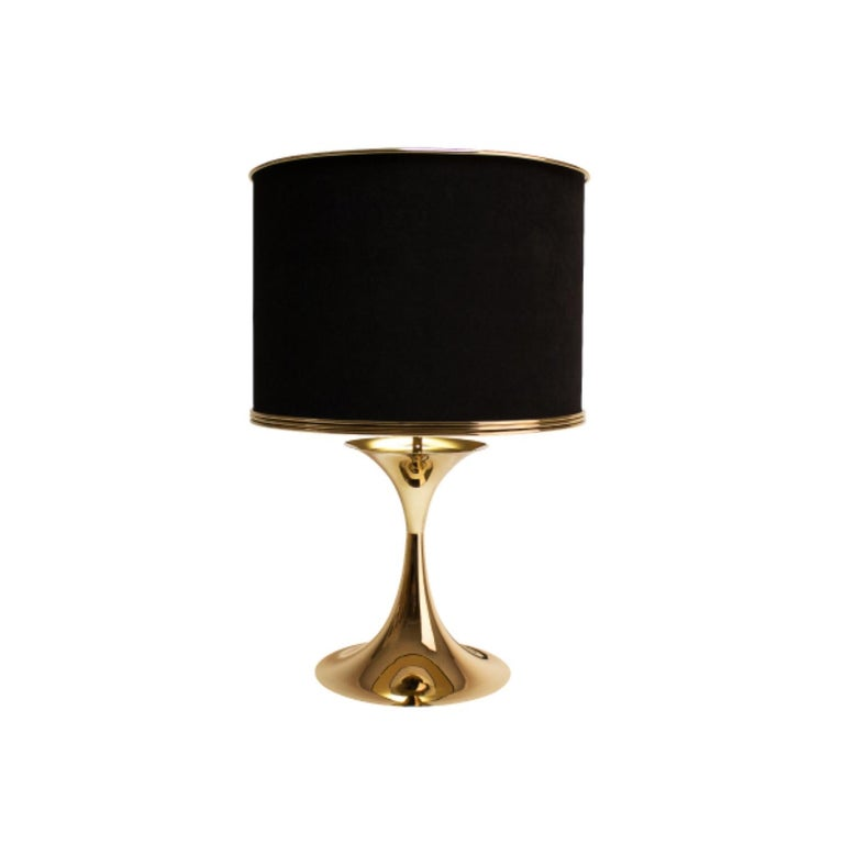 Portuguese 21st Century Montreal Table Lamp Brass Velvet For Sale