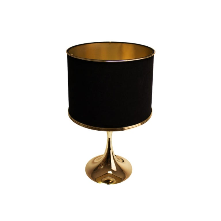 21st Century Montreal Table Lamp Brass Velvet In New Condition For Sale In RIO TINTO, PT