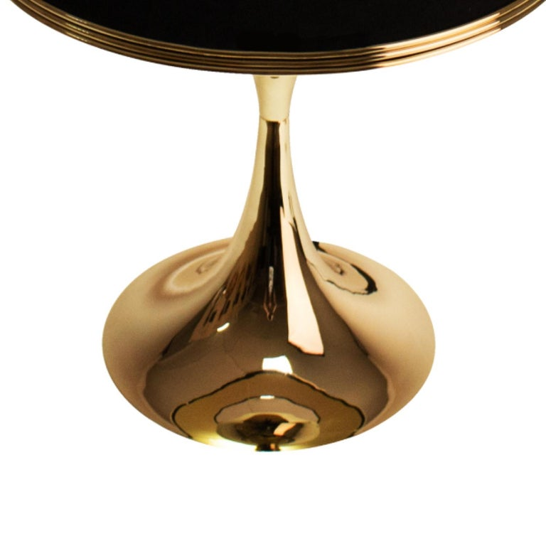 Contemporary 21st Century Montreal Table Lamp Brass Velvet For Sale