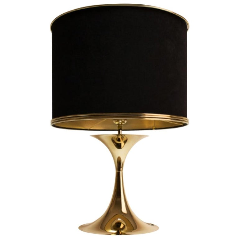 21st Century Montreal Table Lamp Brass Velvet For Sale