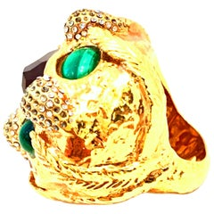 """21st Century Monumental Gold Plate Austrian Crystal """"Lion"""" Bling Cocktail Ring"""