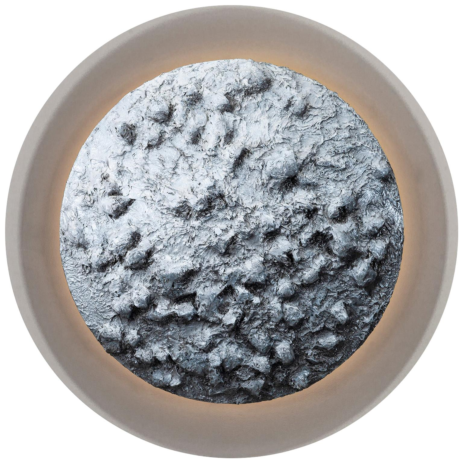 Moon Decorative Wall Art Piece Grey Texturized Resin Grey Acrylic Backlight