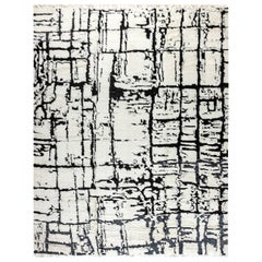 21st Century Moroccan Black and White Wool Rug