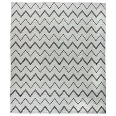21st Century Moroccan Design White and Black Handmade Wool Rug