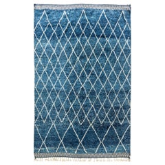 21st Century Moroccan Geometric Blue and White Handmade Wool Rug