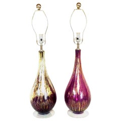 21st Century Murano Style Pair of Glass $  22-Karat Gold Infused Table Lamps