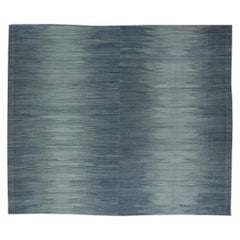 21st Century Muted Silver and Blue Flat-Woven Wool Rug