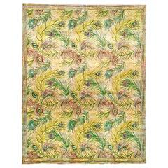21st Century Nanette Lapore Peacock Design Handmade Silk Rug