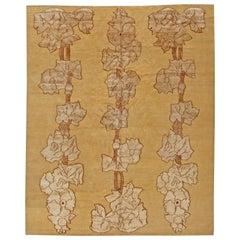 21st Century Napa Vines Beige and Brown Handmade Wool Rug