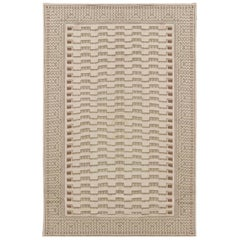 21st Century Needle Point Handmade Wool Rug by Arthur Dunnam in Beige and Green