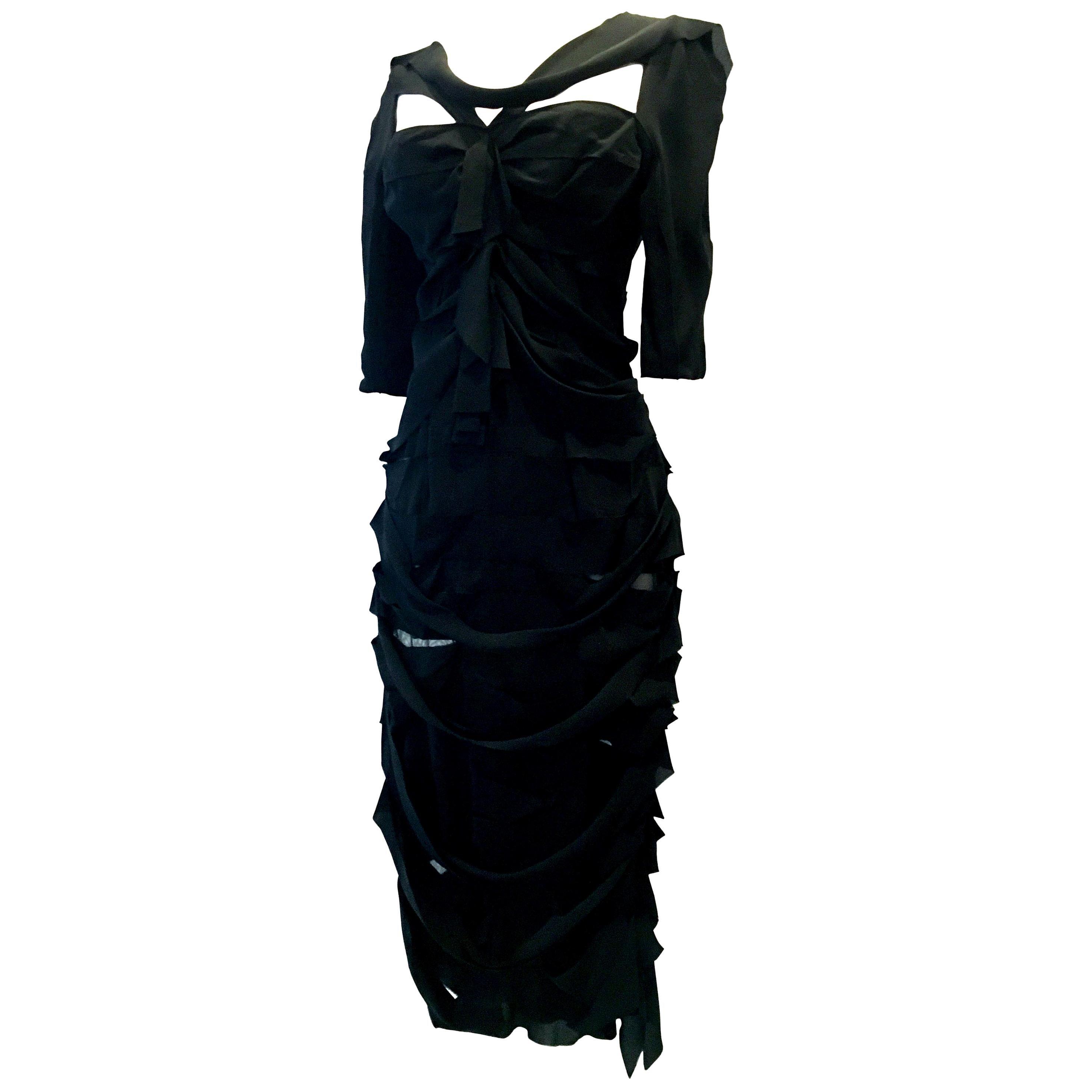 21st Century & New Black Silk Dress By, Nina Ricci Paris