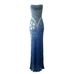 21st Century & New Blue Ombre Hand Beaded Evening Gown By, Aidan Mattox-Size 6