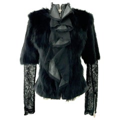 21st Century New Leather Fox Fur & Lace Shirt Or Jacket By, Royal Underground