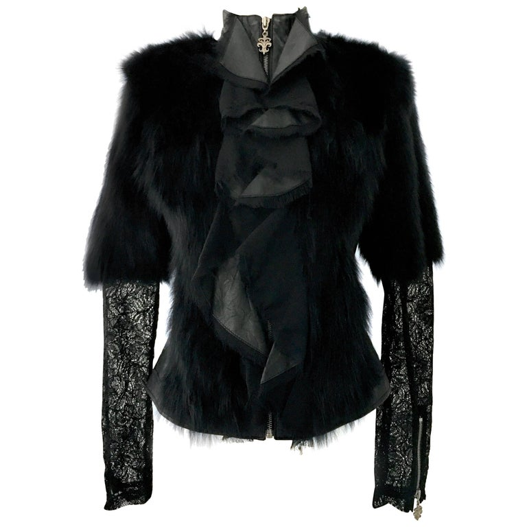 21st Century & New, Coveted Black Leather, Authentic Fox Fur & Lace shirt/jacket by, Royal Underground - Nikki Six & Kelley Gray. Features a fitted zipper front bodice in black soft leather with black fox fur trim and black lace panels and sleeves.