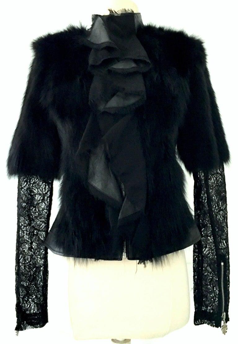 Black 21st Century & New Leather Fox & Lace Shirt Jacket By, Royal Underground