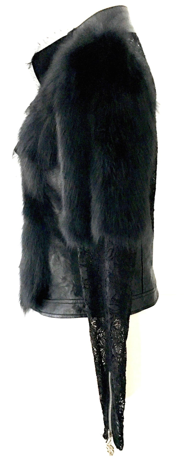 Women's or Men's 21st Century & New Leather Fox & Lace Shirt Jacket By, Royal Underground