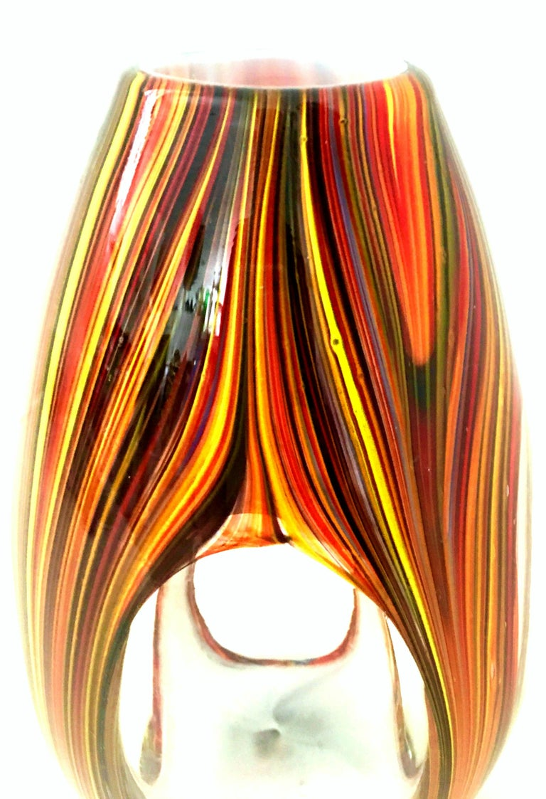 Contemporary 21st Century and New Missoni Modern Optical Striped Blown Glass Vase