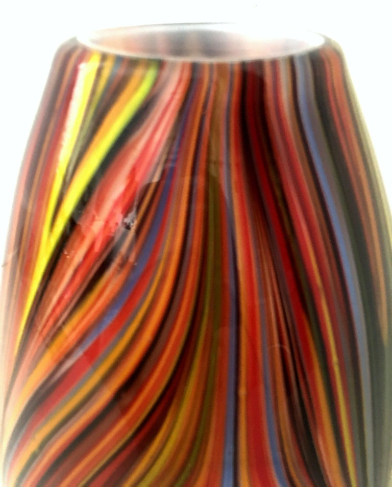 21st Century and New Missoni Modern Optical Striped Blown Glass Vase 2