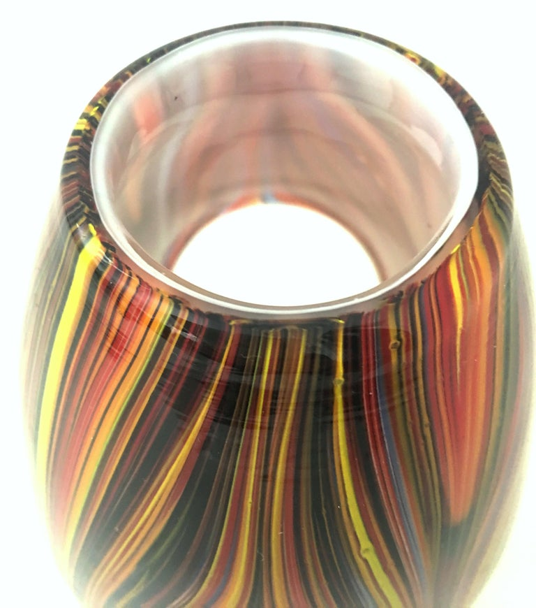 21st Century and New Missoni Modern Optical Striped Blown Glass Vase 3