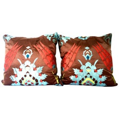 21st Century & New Pair of Moroccan Style Faux Silk Applique Pillows