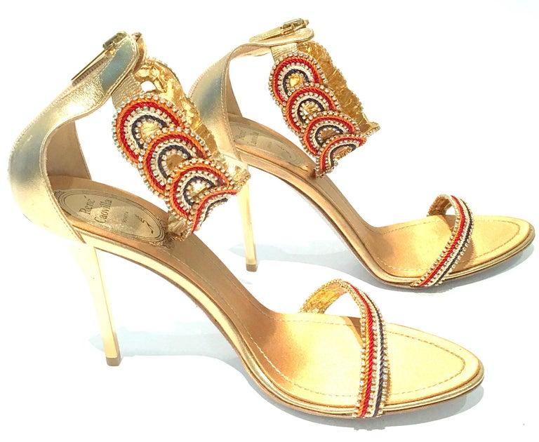 Beige 21st Century New Rene Caovilla Metallic Embellished Ankle Wrap Sandals  For Sale