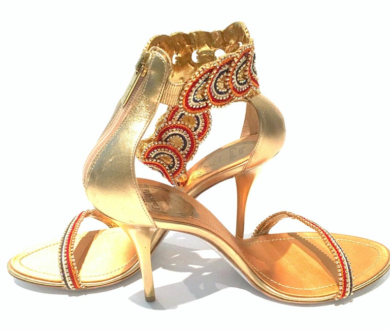 21st Century New Rene Caovilla Metallic Embellished Ankle Wrap Sandals  In Excellent Condition For Sale In West Palm Beach, FL