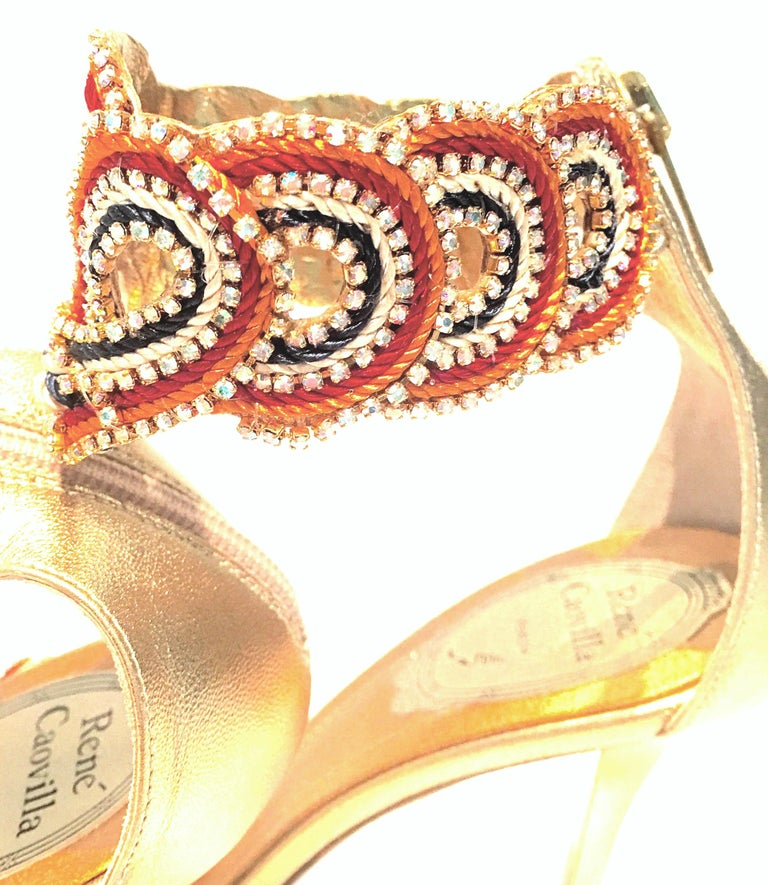 21st Century New Rene Caovilla Metallic Embellished Ankle Wrap Sandals  For Sale 1
